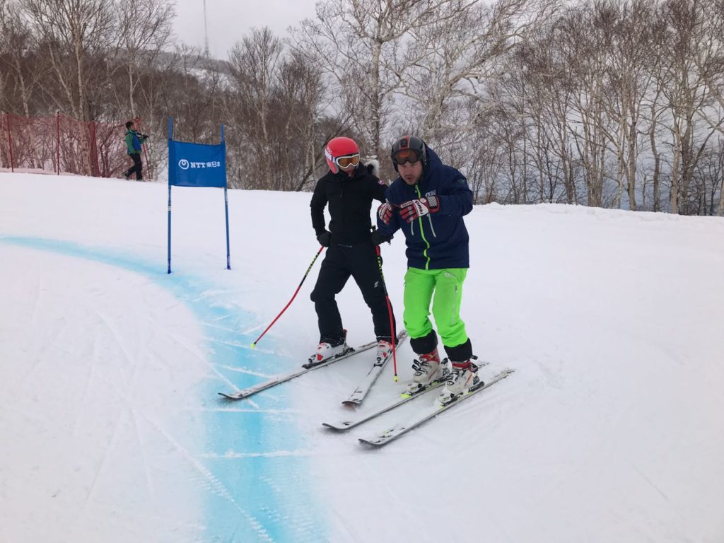 Slaven training Sara on the Grand Slalom course before race day