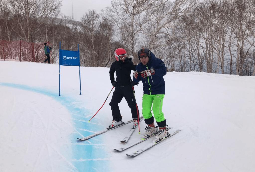 Hokkaido Ski Club coach training professional race athlete for Sapporo Asian Winter Games 2017