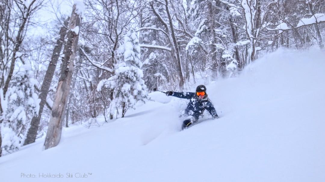 Backcountry Guide Uros skiing down Mount. Yotei