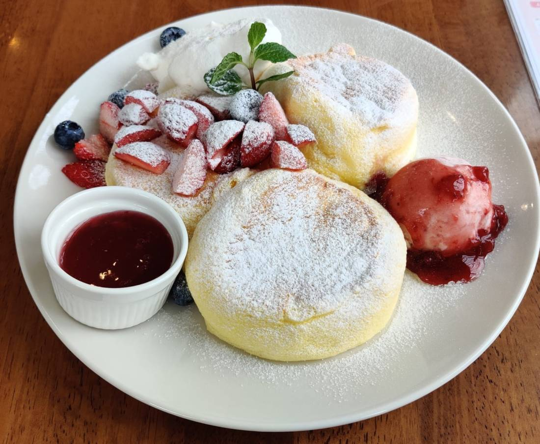 Plate of Japanese pancakes at a cafe