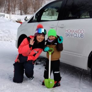 Ski instructor Anthea and 3 year old student Darius