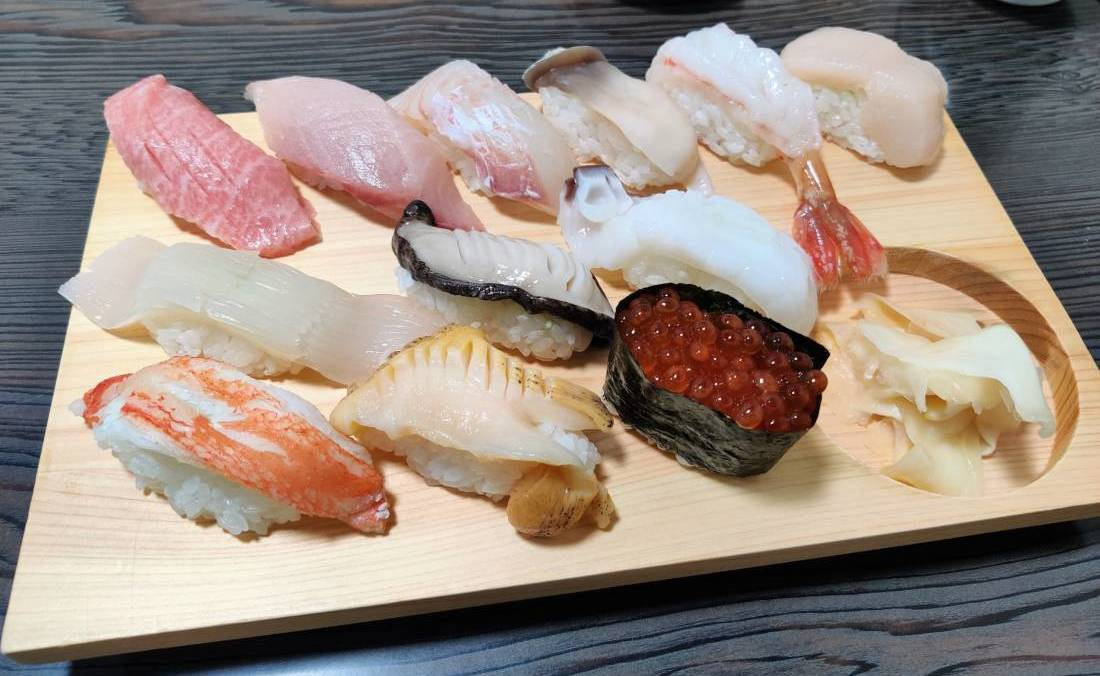 Plate of fresh seasonal sushi