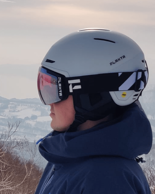 Skier in helmet and goggles