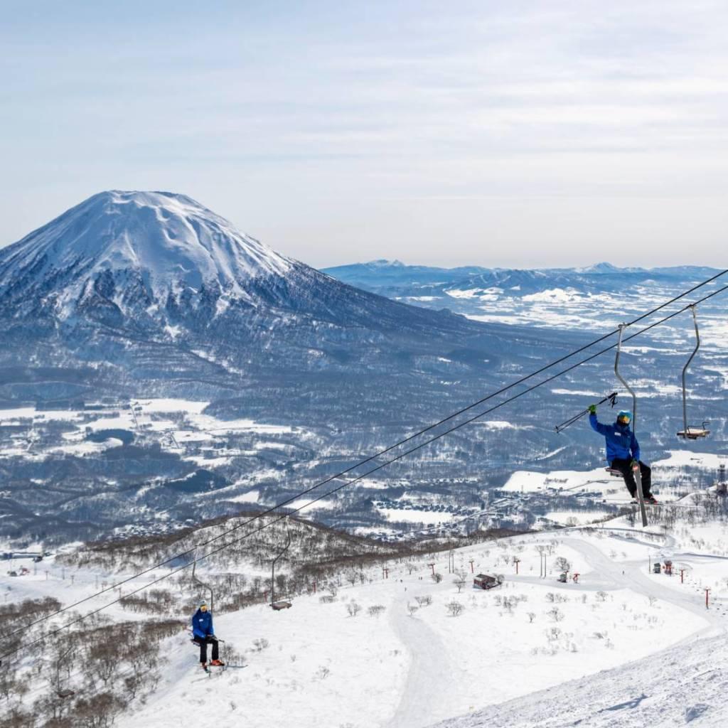 Hokkaido Ski Club ski instructors with Mount Yotei