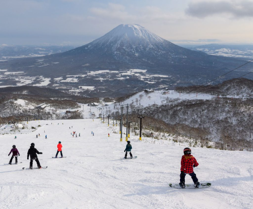 Family Snowboard Lesson with Mount Yotei