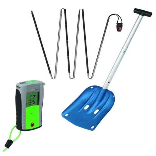 Backcountry set containing shovel, probe and beacon