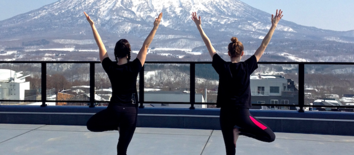 Yoga while watching Mount Yotei is the perfect way to end a day after skiing or snowboarding.